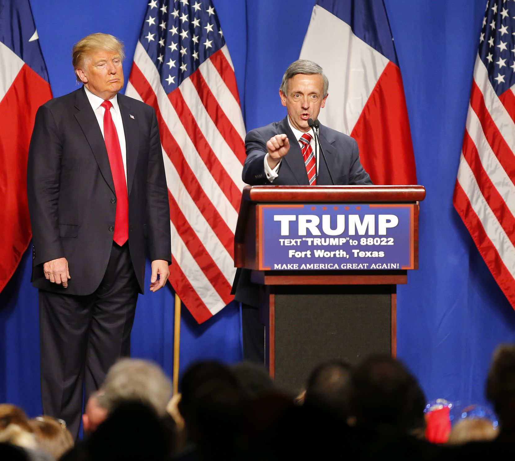 Robert Jeffress, pastor of First Baptist Church in Dallas, speaks at a Trump rally in Fort Worth in February.