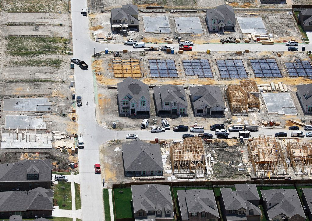 Homes under construction in McKinney. In Texas, 84% of firms surveyed by the Association of General Contractors of America reported having ongoing trouble hiring for skilled hourly worker positions.