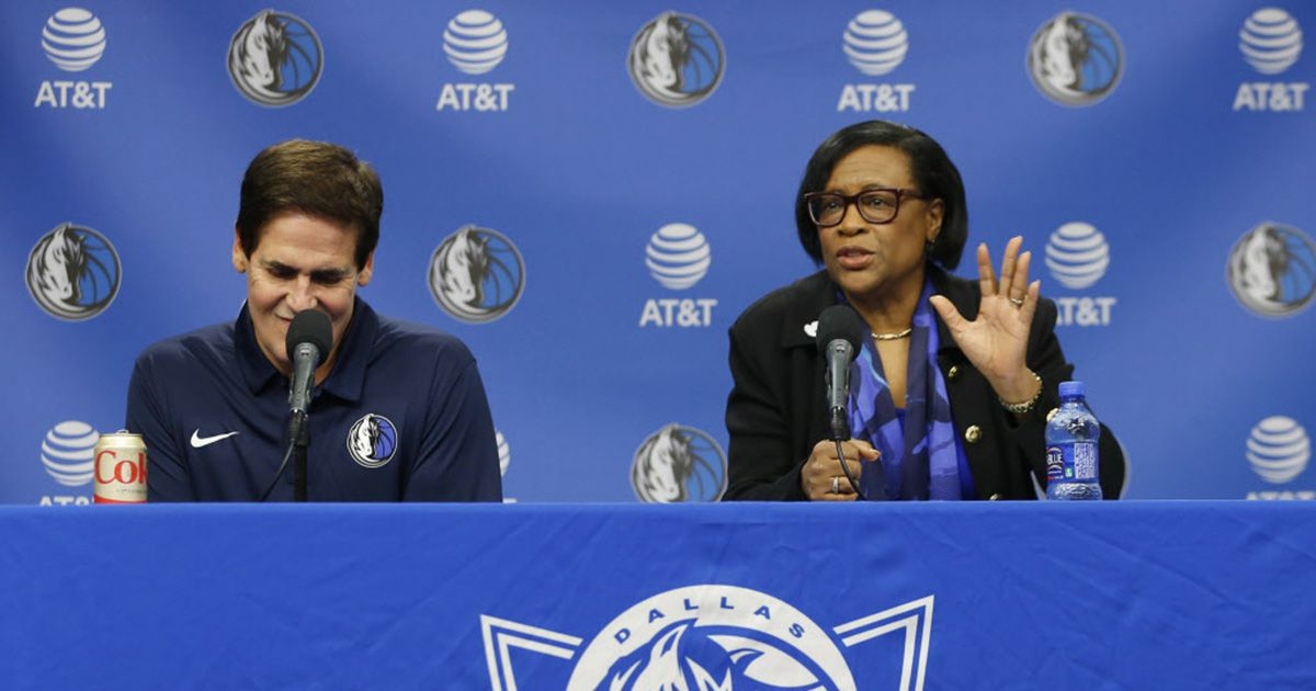 Dallas Mavericks CEO Cynthia Marshall addresses the room next to Dallas Mavericks owner Mark Cuban 