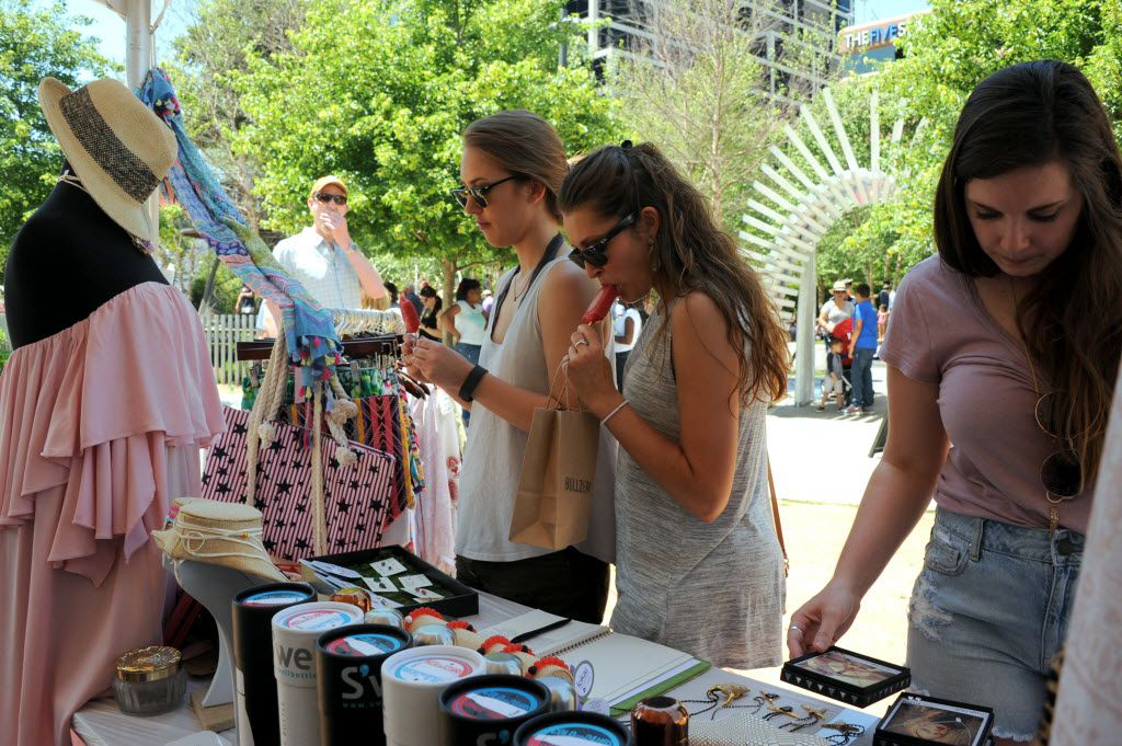 In the Park Cities neighborhood at Kwestival in Klyde Warren Park in Dallas on April 23, 2016, Friends Andrea Melde, Amber Godinich, and Grace Gibney shop at Hemline. (Alexandra Olivia/ Special Contributor)