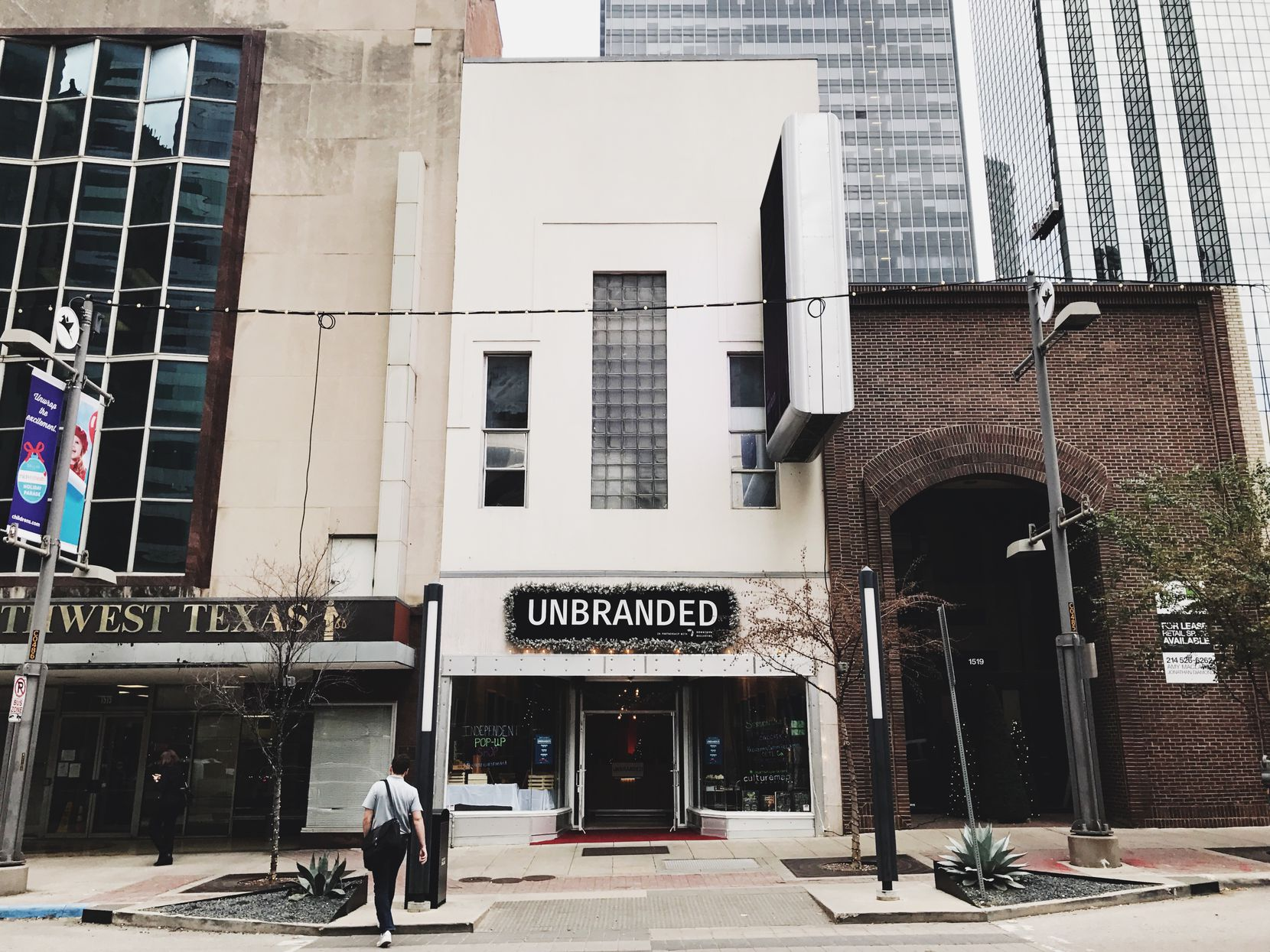Exterior of Unbranded, a temporary pop-up store at 1517 Main St. in downtown Dallas.