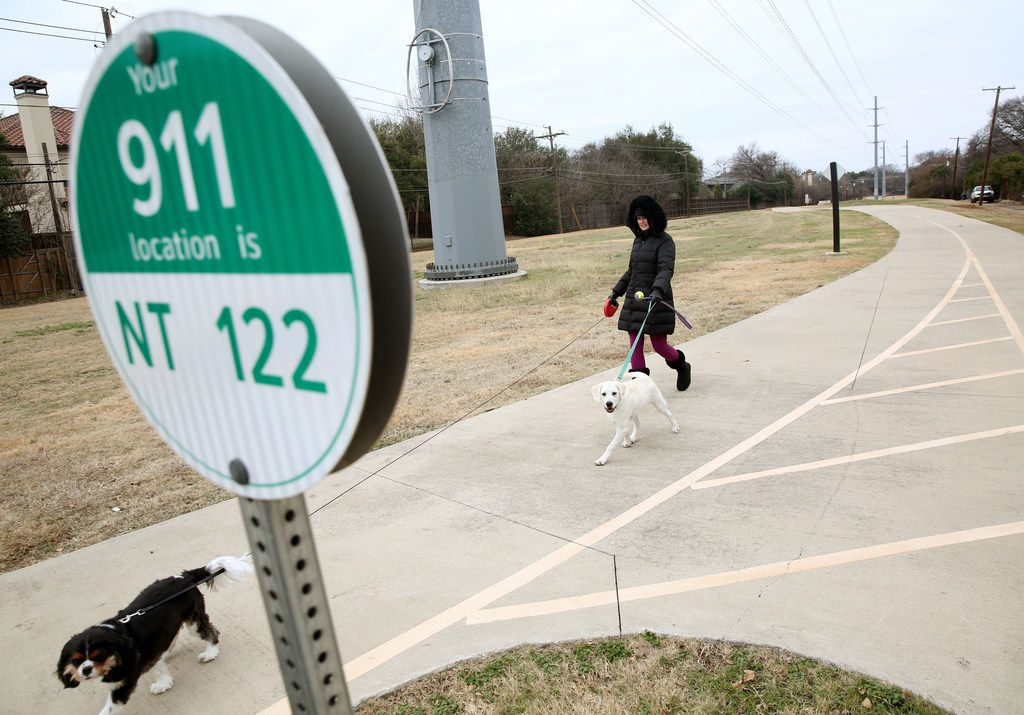 Deidra Fisher and her dogs Finn (left) and Sawyer make use of the trail. (Rose Baca/The Dallas Morning News)