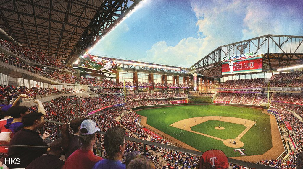 A digital rendering shows the inside of the new Globe Life Field with the retractable roof open in this view released Nov. 26, 2018. On the video board is Adrian Beltre with 3,000 hits.