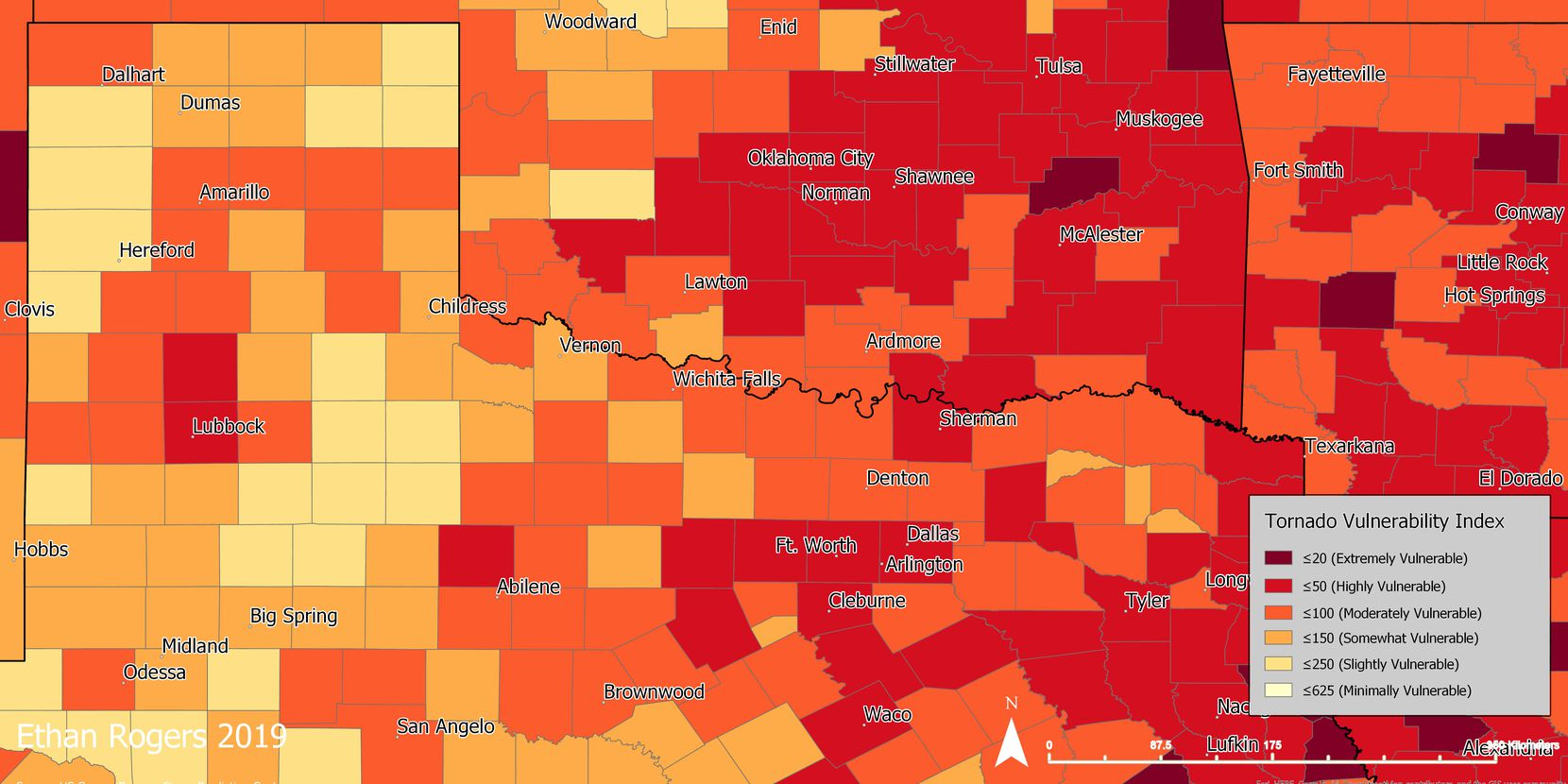This map shows which counties in North Texas are most vulnerable to tornadoes.