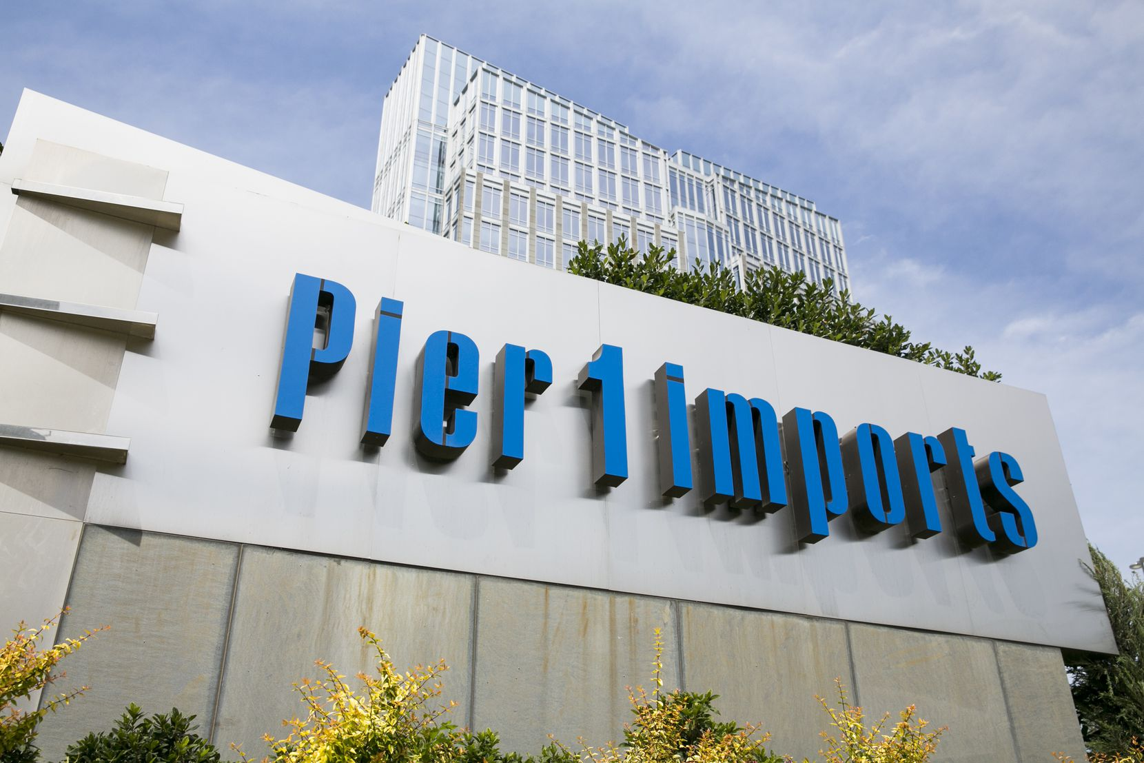 A logo sign outside of the headquarters of Pier 1 Imports Inc., in Fort Worth, Texas, on May 29, 2017.