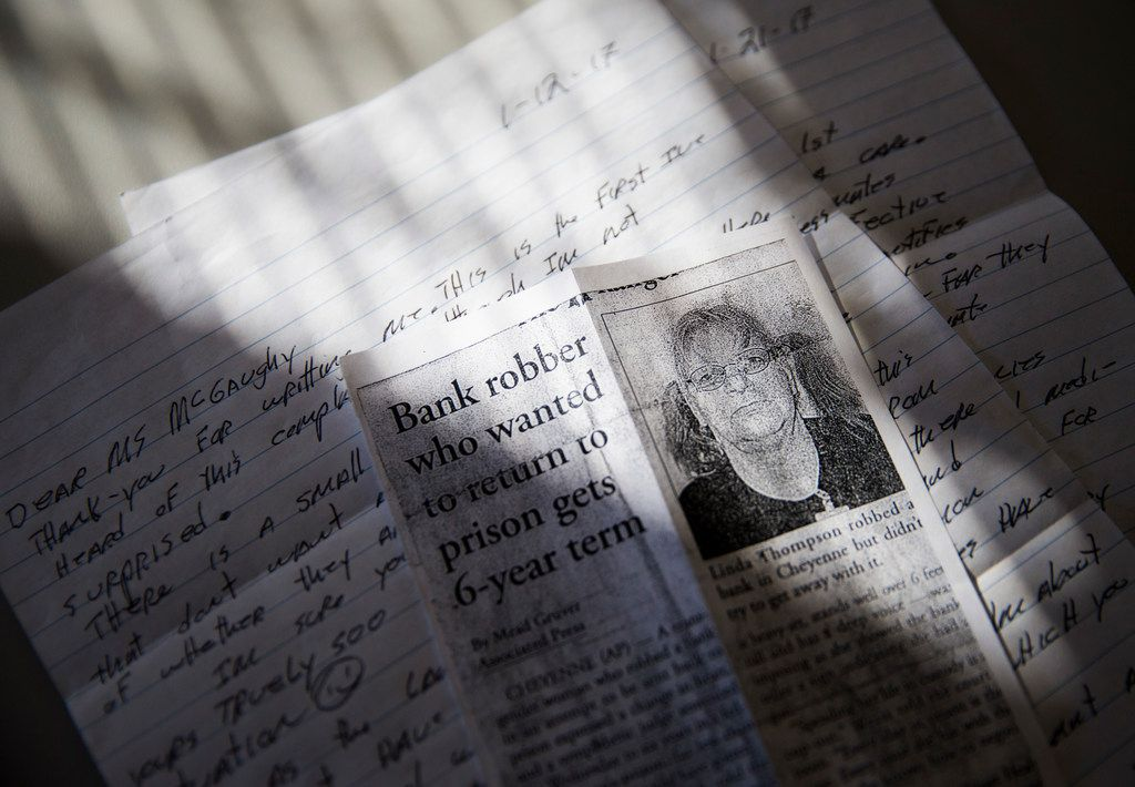 A letter from transgender inmate Linda Thompson, 60, written to reporter Lauren McGaughy as photographed on Tuesday, December 12, 2017. A lawsuit will determine where inmates like these will be housed. (Ashley Landis/The Dallas Morning News)