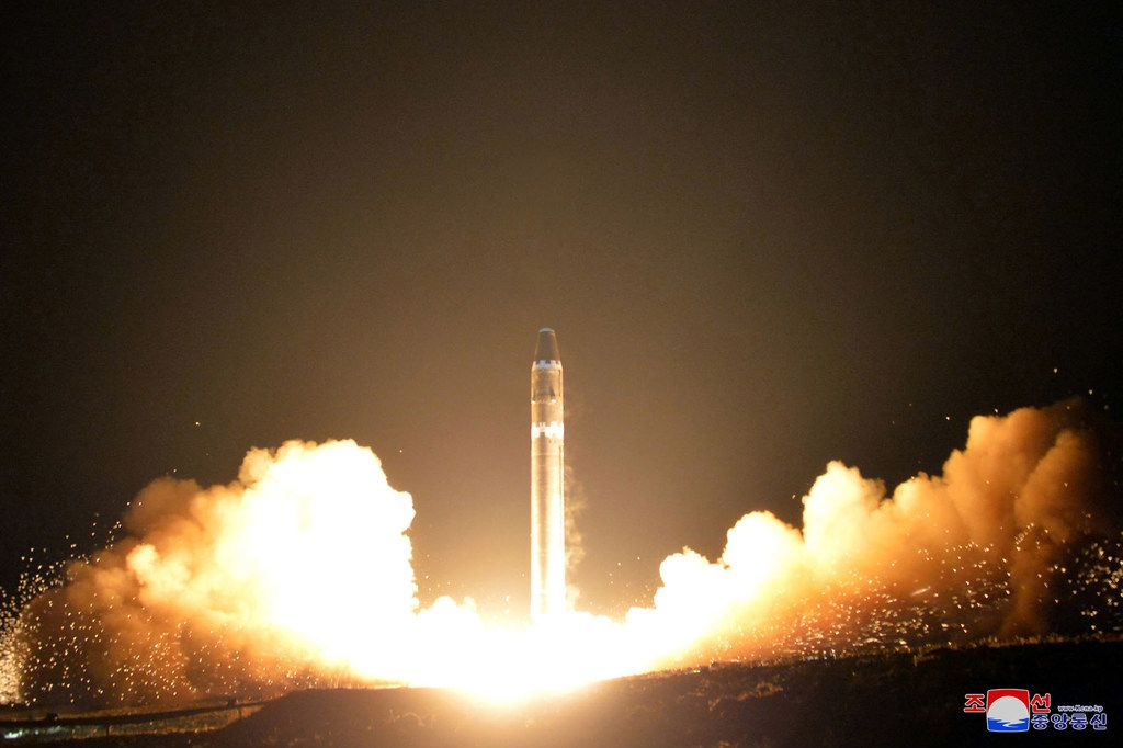 This Nov. 29, 2017, photo provided by the North Korean government shows what the North Korean government calls the Hwasong-15 intercontinental ballistic missile, at an undisclosed location in North Korea.