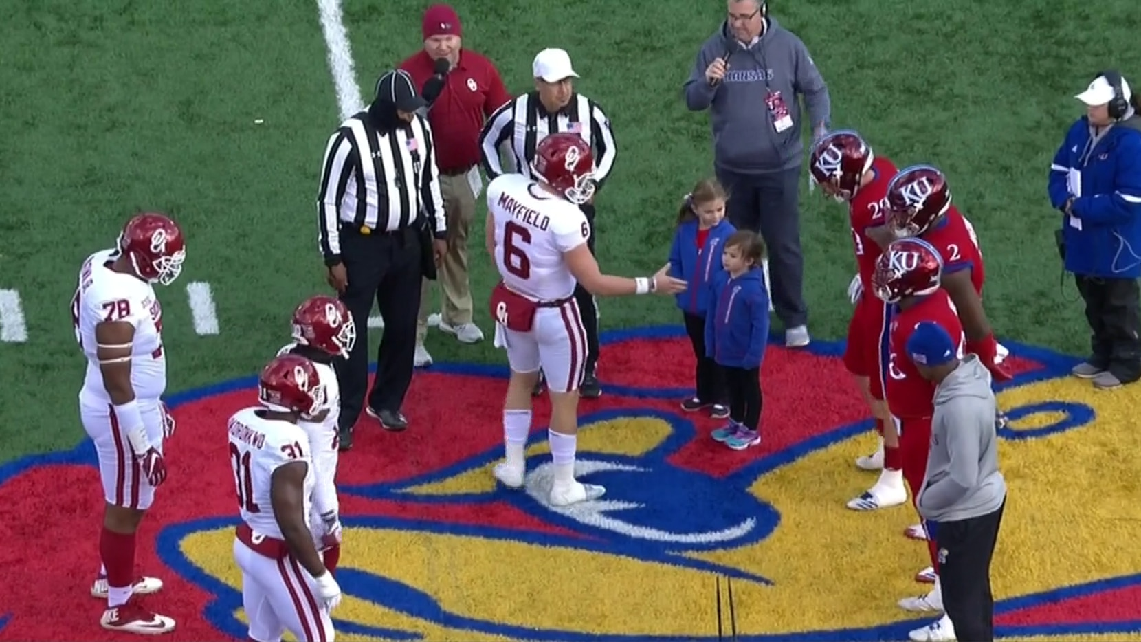 more photos ac30a 4fbd6 At least Kansas admits not shaking hands with Baker Mayfield ...