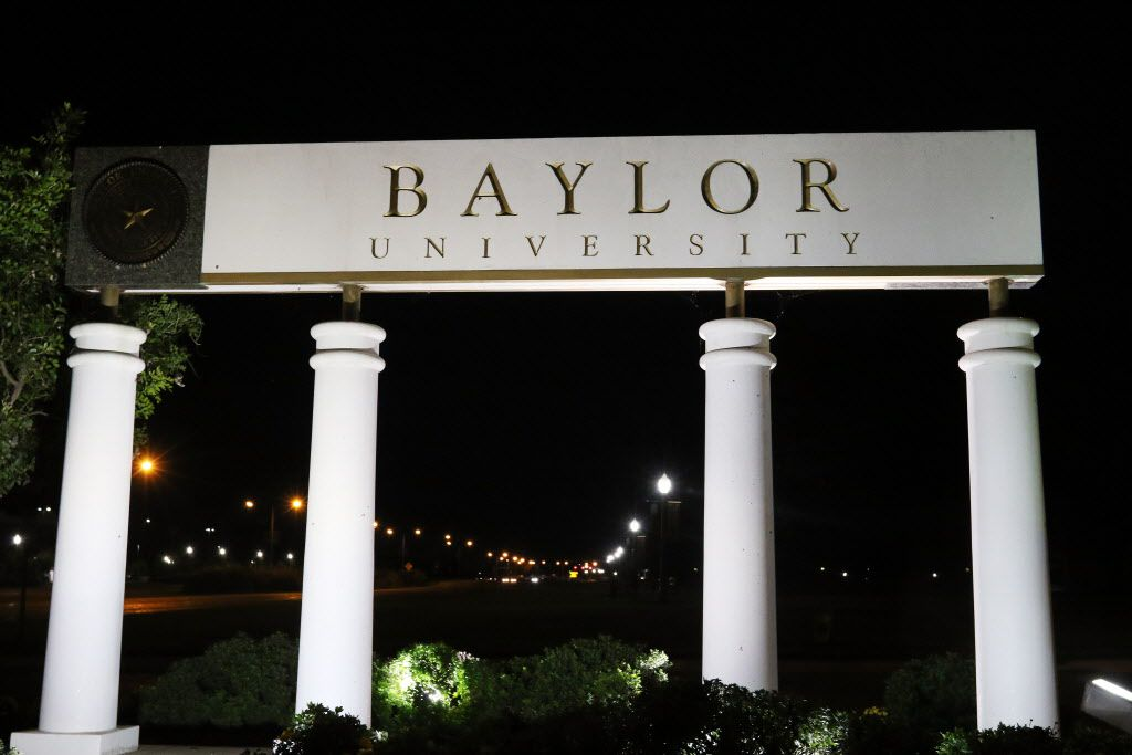 A Baylor University sign on the Waco campus.