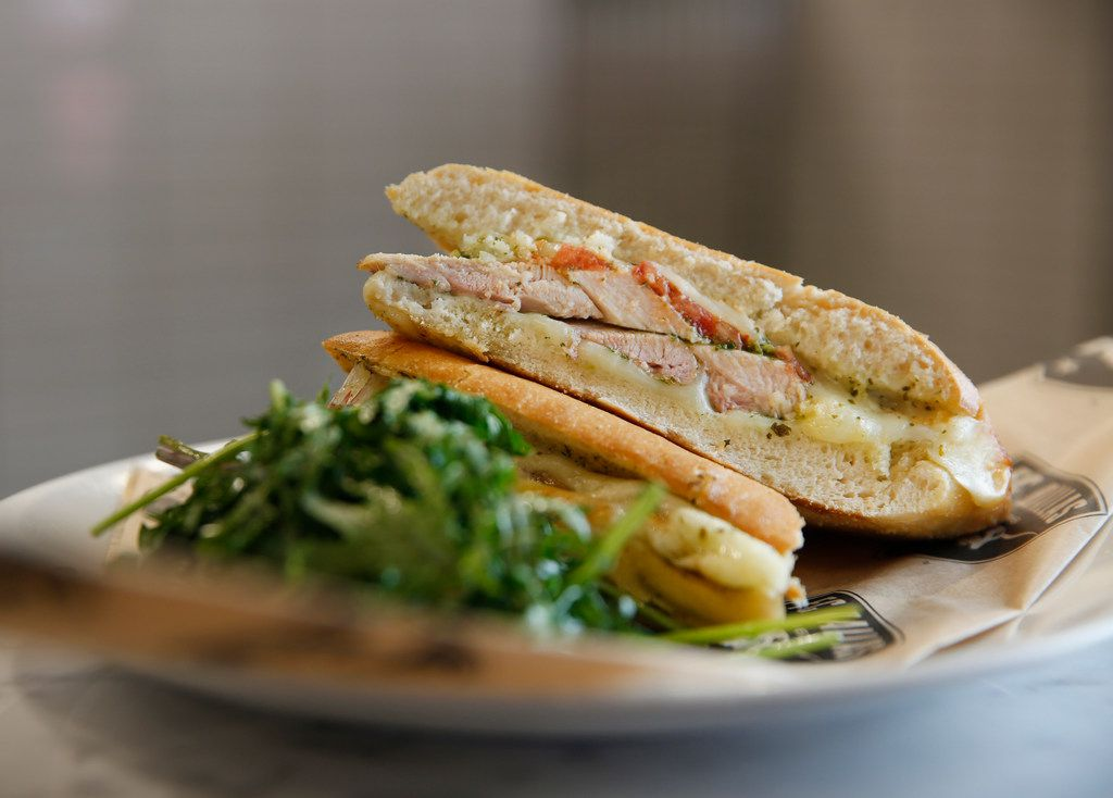 The chicken pesto panini photographed at Toyota Stadium in Frisco, Texas on Wednesday, Feb. 20, 2019. The item is part of FC Dallas' new culinary offerings for the season. (Rose Baca/Staff Photographer)