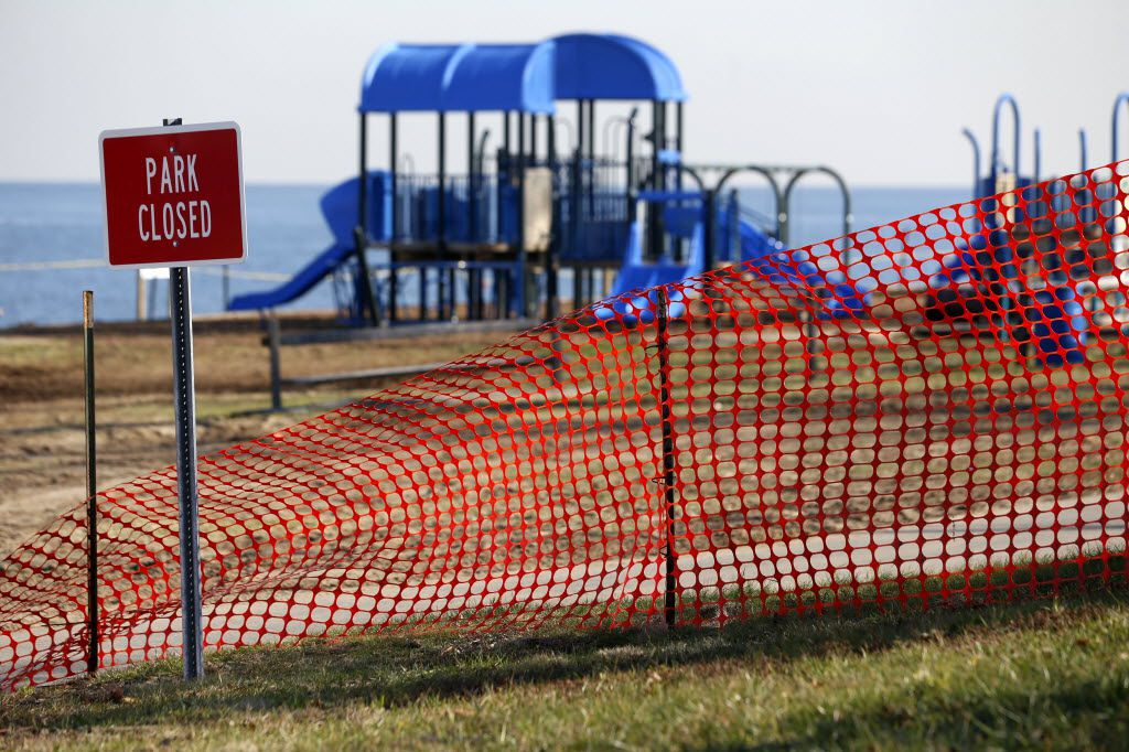 A recreational area is fenced off in an area where high levels of lead were recorded following Superstorm Sandy in Laurence Harbor, N.J.
