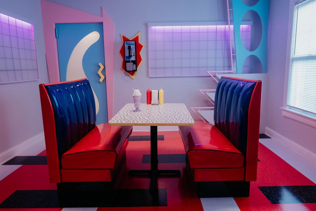 The dining room at The Slater, dubbed The Max, is designed to resemble the diner from Saved by the Bell.