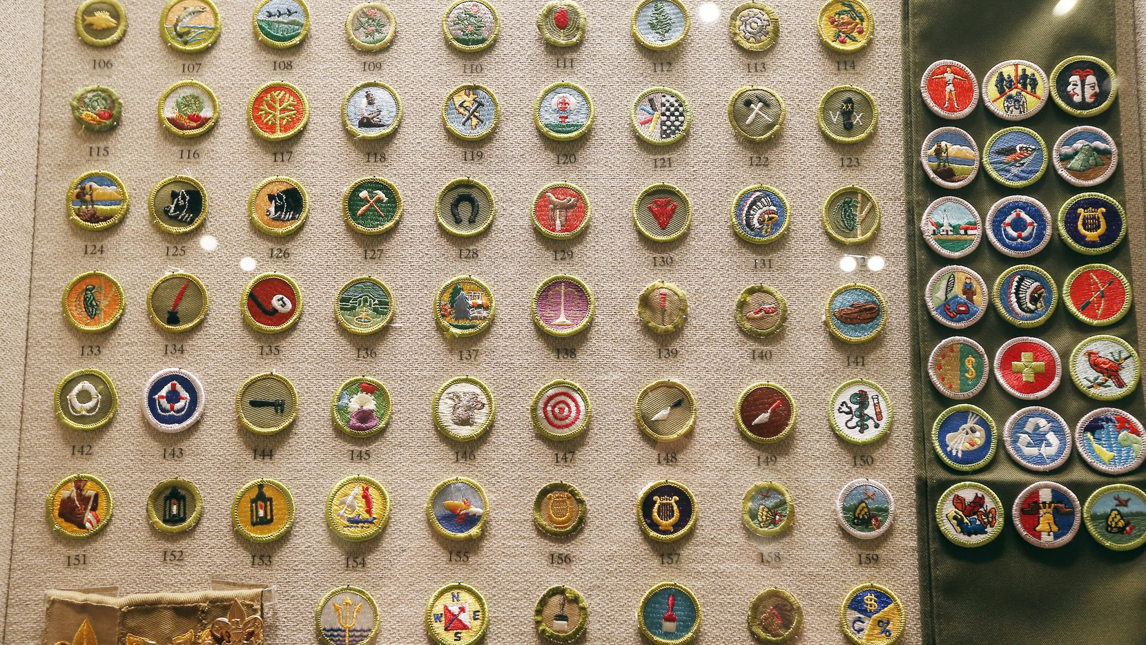 A display of 251 merit badges, some are no longer are given at the Boys Scouts of America National Scouting Museum in Irving. (2015 File Photo/Brandon Wade)