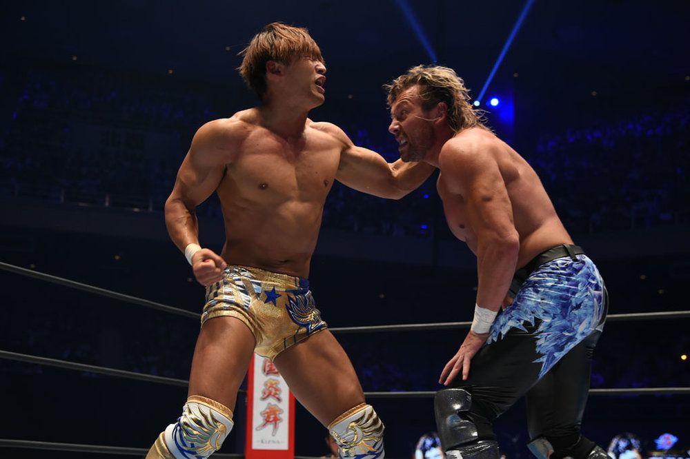 Ibushi Omega 1.jpg; Caption: NJPW's Kota Ibushi and Kenny Omega fight during the 28th G1 Climax, August 11, 2018.