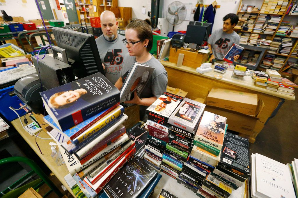 From left: Jackie Butts, Andrea Jarvis and Daniel Lucio take in books at the Half Price Books store on Northwest Highway.