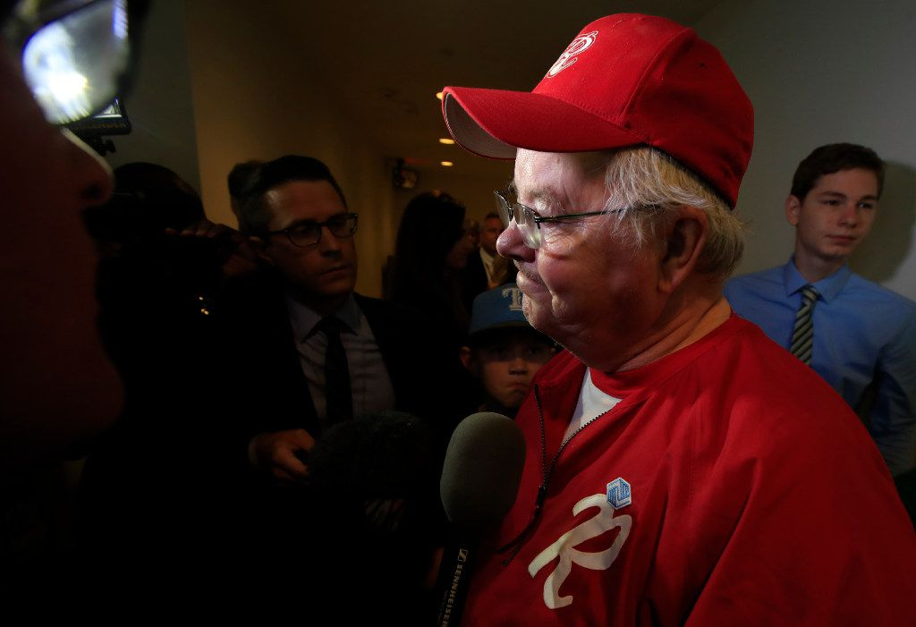 Rep. Joe Barton, R-Arlington, manager of the Republican team, wearing his baseball uniform, speaks to reporters on Capitol Hill. House Majority Whip Steve Scalise of Louisiana and others were shot during a congressional baseball practice in Alexandria, Va.