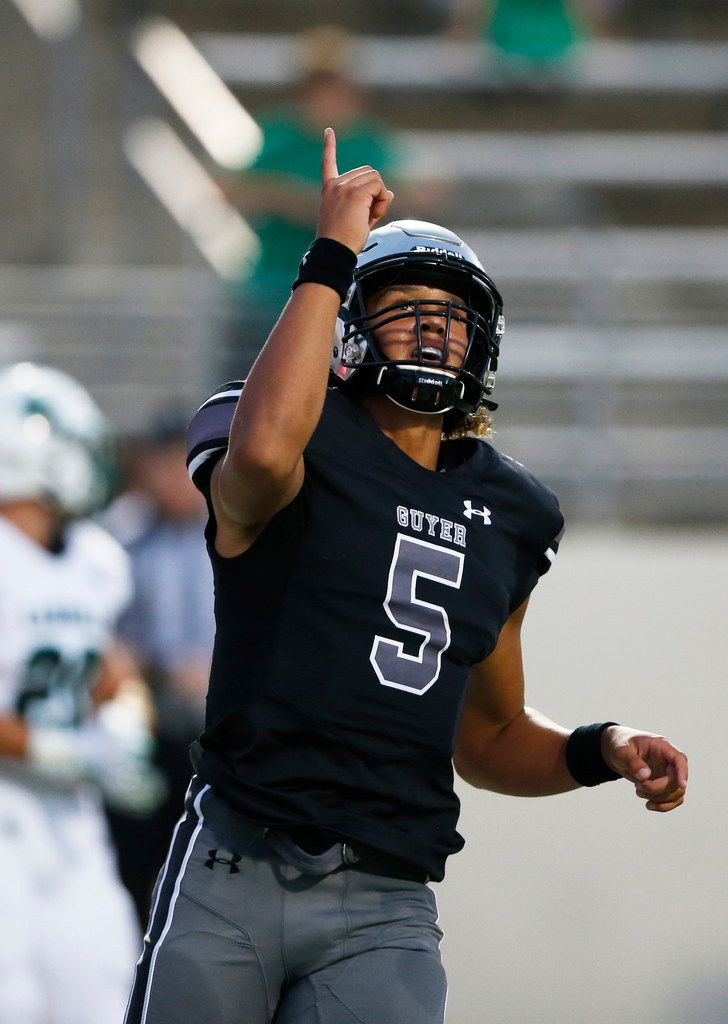 Denton Guyer's Eli Stowers (5) celebrates after a completed pass in a game against Southlake Carroll during the first half of play at C.H. Collins Complex in Denton, on Friday, October 4, 2019. (Vernon Bryant/The Dallas Morning News)