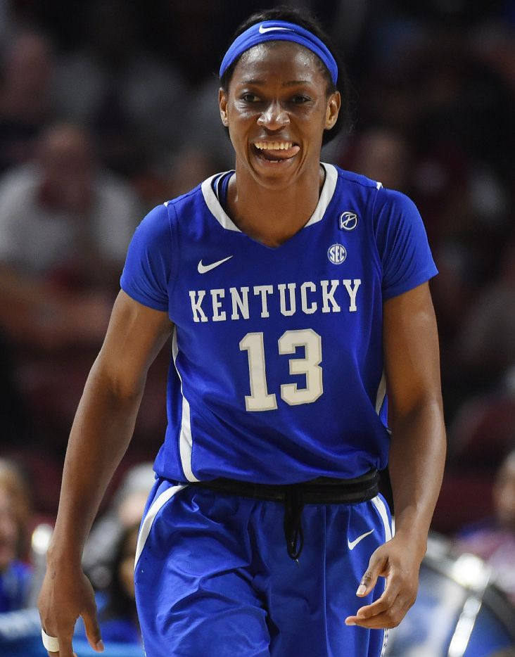 Kentucky forward Evelyn Akhator (13) reacts after scoring against South Carolina in the second half of an NCAA college basketball game during the Southeastern Conference tournament on Saturday, March 4, 2017, in Greenville, S.C. (AP Photo/Rainier Ehrhardt)