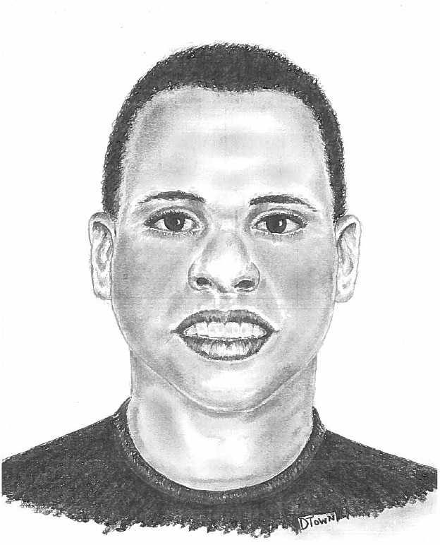 A police sketch of the body pulled May 12 from White Rock Creek. The victim has been identified as Eric Hall.
