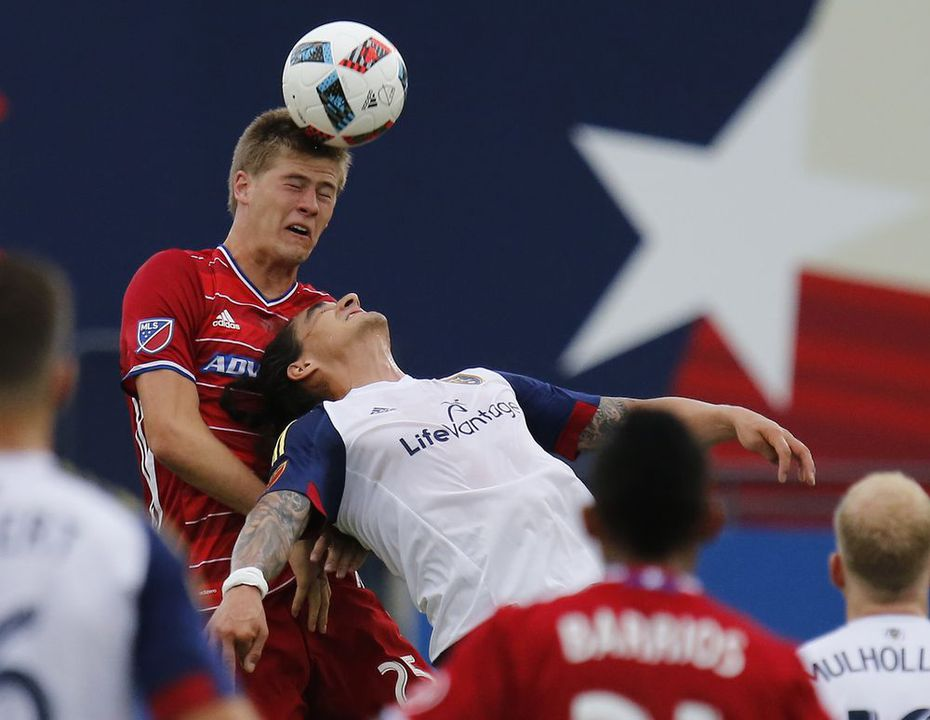 FC Dallas defender Walker Zimmerman (25) gets a header over Real Salt Lake forward Devon Sandoval (49) during the first half as FC Dallas hosted Real Salt Lake at Toyota Stadium in Frisco on Saturday evening, June 25, 2016. (Stewart F. House/Special Contributor)