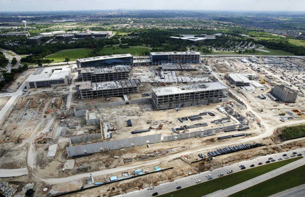 Looking towards the south Toyota headquarters under construction in Plano on Thursday, April 14, 2016. Frito-Lay and JCPenney headquarters are just south of Toyota. (Vernon Bryant/The Dallas Morning News)