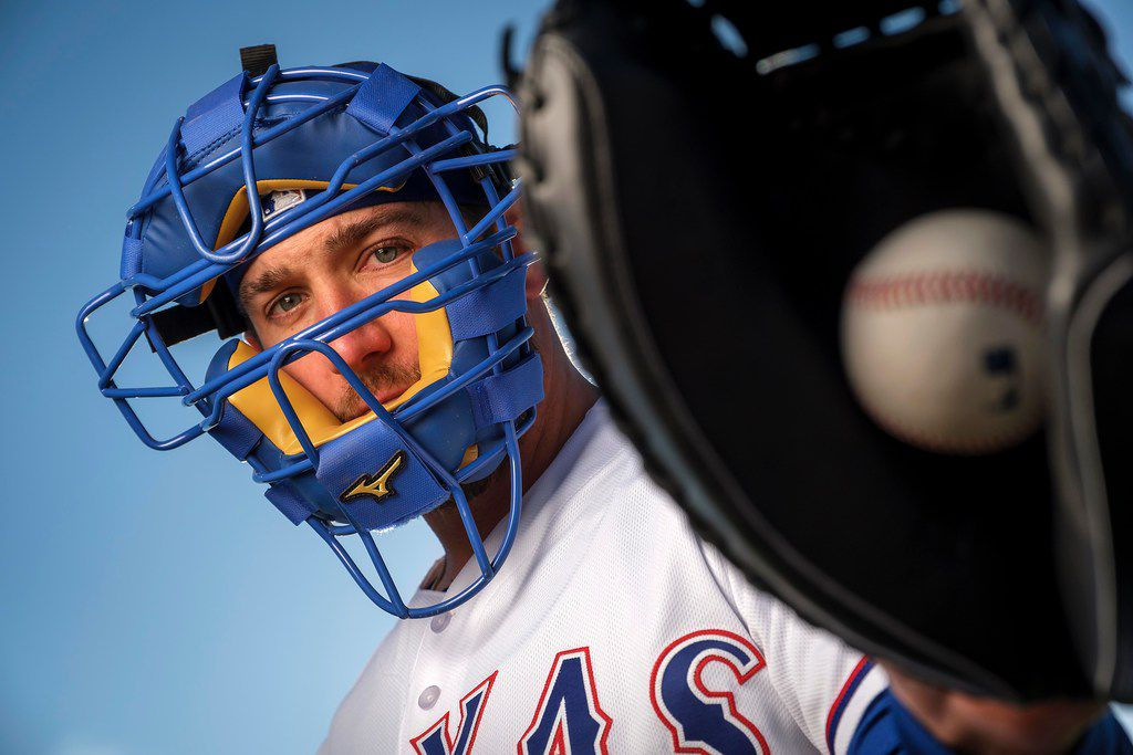 Texas Rangers catcher Jeff Mathis poses for a photograph during spring training photo day at the team's training facility on Wednesday, Feb. 20, 2019, in Surprise, Ariz.. (Smiley N. Pool/The Dallas Morning News)
