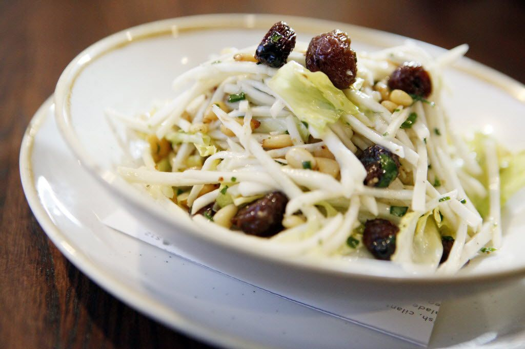 Wayward Son's celery root Waldorf salad with pine nuts, escarole and roasted grapes