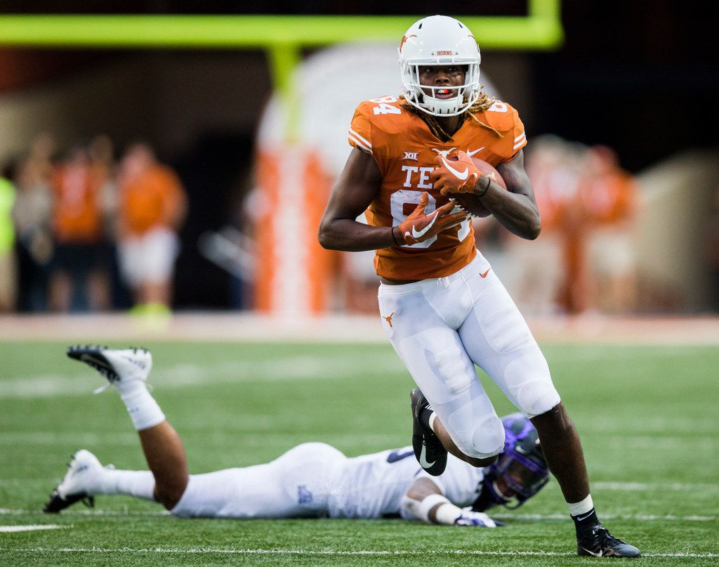 Texas Longhorns wide receiver Lil'Jordan Humphrey (84) runs to the end zone for a touchdown during the fourth quarter of a college football game between TCU and the University of Texas on Saturday, September 22, 2018 at Darrell K Royal - Texas Memorial Stadium in Austin. (Ashley Landis/The Dallas Morning News)