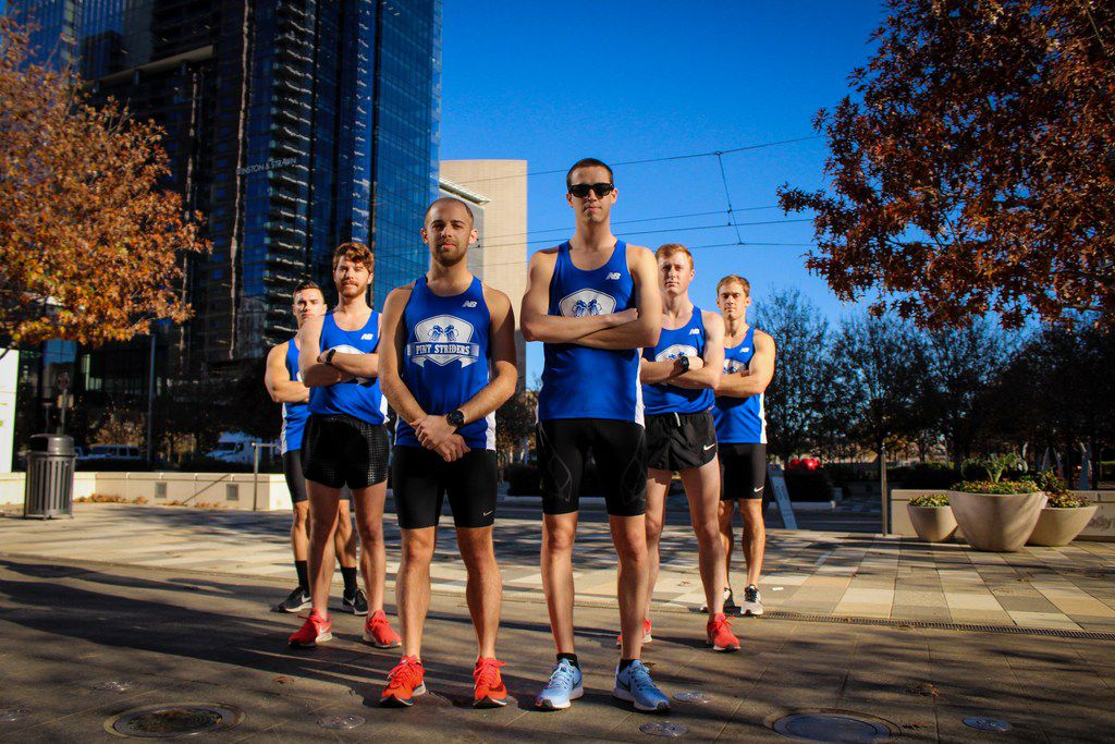 Members of the Pint Striders team that will compete for the BMW Dallas Marathon relay title on Sunday. From left: Andrew Prybylowski (crew member/logistics), Aaron Purser, Jonathon Bermudez, Pat Schellberg, Sam Berger and Neal Smith.  (Brandon Sotelo)