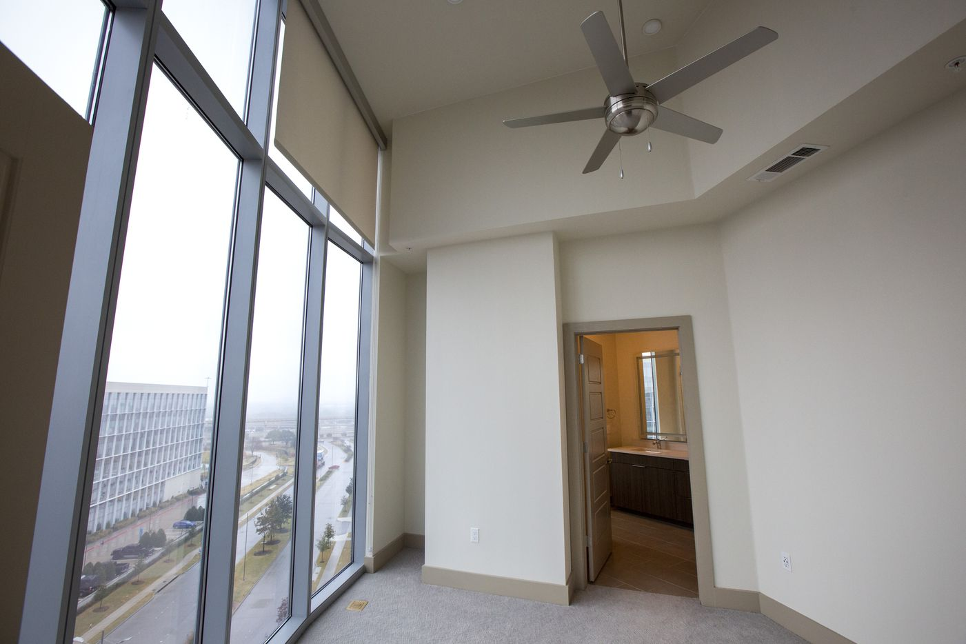 The view from a bedroom in a two-bedroom unit at the new LVL 29 apartment high-rise in Plano. (Lynda M. Gonzalez/The Dallas Morning News)