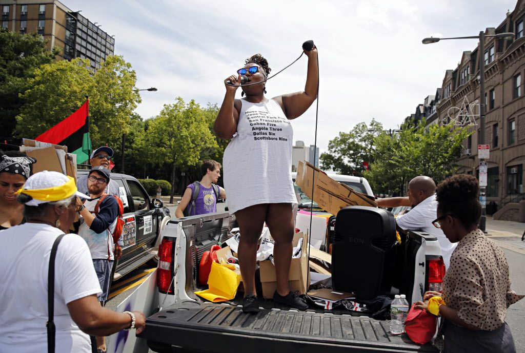 Protest organizers directed the crowd during a Black Lives Matter march Tuesday in Philadelphia. The rally was one of several events planned to protest the Democratic National Convention at Wells Fargo Center.