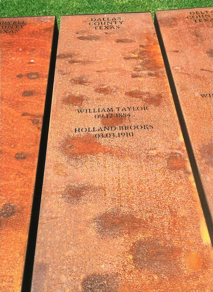 The names of Dallas County lynching victims William Taylor and Holland Brooks, known as Allen Brooks, are memorialized at the National Memorial for Peace and Justice in Montgomery, Ala. Sally Dobbie of Dallas visited the site and was profoundly moved. She took this photograph during her visit.