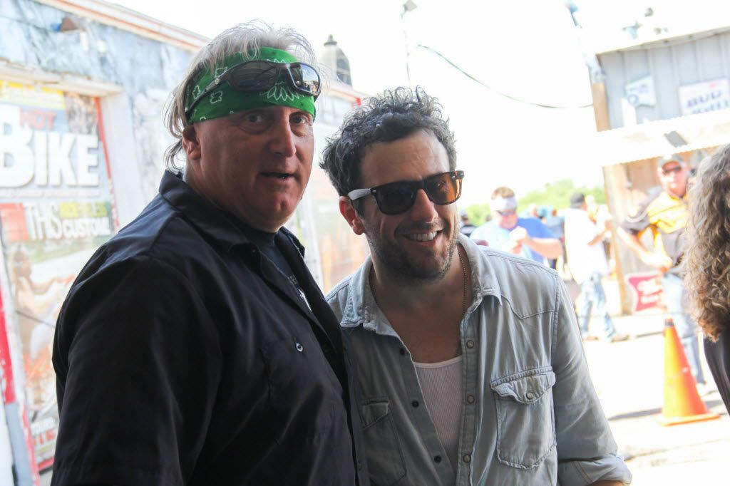 FILE - Former Dallas Stars Craig Ludwig and Will Hoge at the ACM Charity Motorcycle Ride and Concert with Dierks Bentley on April 18, 2015