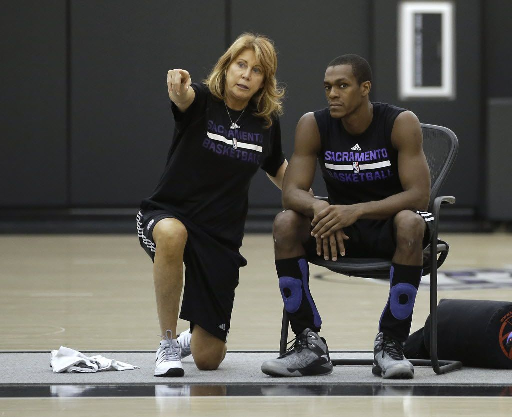 Sacramento Kings assistant coach Nancy Lieberman talks with guard Rajon Rondo during a workout at the Kings practice facility in Sacramento, Calif., Monday, Oct. 26, 2015.   The Kings open the season against the Los Angeles Clipper at Sleep Train Arena, Wednesday. Rondo is one of several free agents signed by the Kings in the off season.(AP Photo/Rich Pedroncelli)