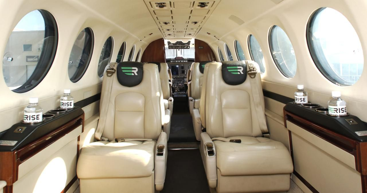 The inside of plane used by Rise is shown. Rise was purchased by Surf Air in 2017.