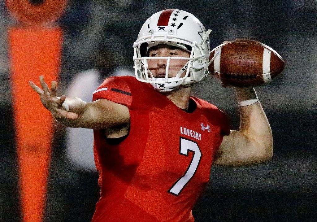 Lovejoy High School quarterback Carson Collins (7) throws a pass during the first half as Lovejoy High School hosted Reedy High School in a district 7-5A, Division II football game played at Leopard Stadium in Lucas on Friday night, October 12, 2018.  (Stewart F. House/Special Contributor)