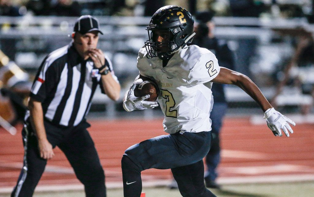 FILE - The Colony junior running back Myles Price (2) carries a pass for a touchdown as during the first half of a high school football game against Frisco Independence at Memorial Stadium in Frisco, Friday, November 2, 2018. (Brandon Wade/Special Contributor)