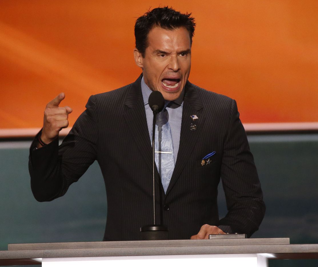 Actor Antonio Sabato, Jr., of General Hospital and The Bold and the Beautiful speaks during the first day of the Republican National Convention.