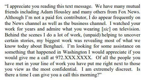 The text that Ed Butowsky reportedly sent to Rod Wheeler in February seeking his help with the investigation into Seth Rich's death.
