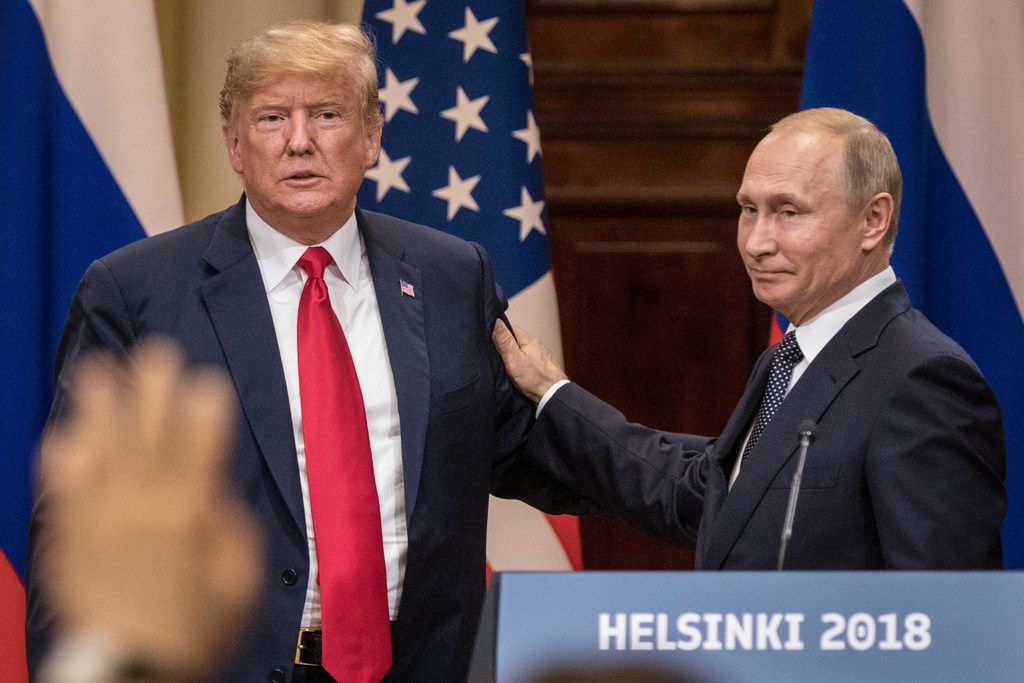 U.S. President Donald Trump and Russian President Vladimir Putin  during a joint press conference after their summit Monday in Helsinki, Finland. The two leaders met one-on-one and discussed a range of issues, including the 2016 U.S Election collusion.