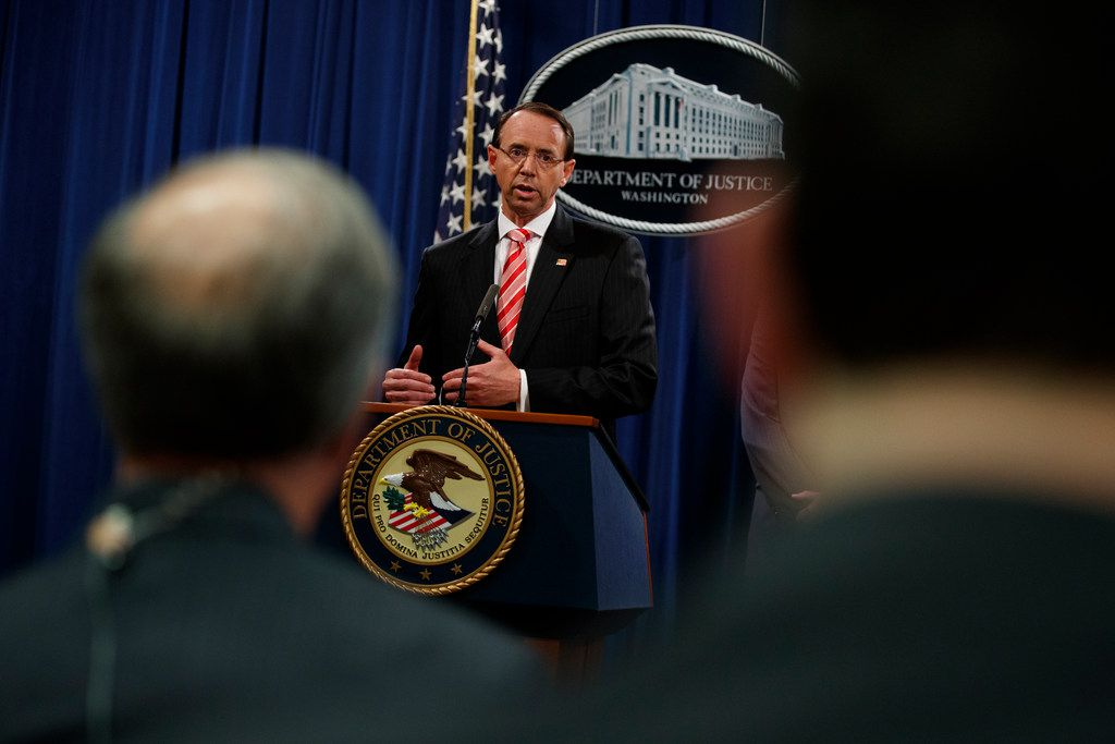 Deputy Attorney General Rod Rosenstein speaks during a news conference at the Department of Justice, Friday, July 13, 2018, in Washington. He announced indictments against 12 Russian agents for computer hacking and meddling in the 2016 election.