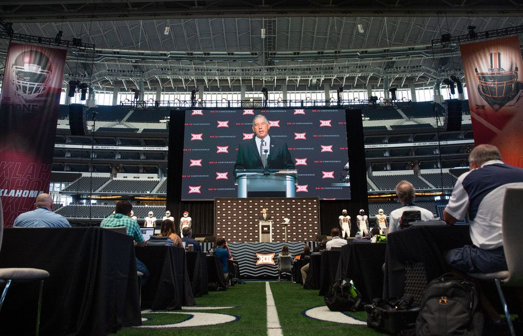 Big 12 Commissioner Bob Bowlsby speaks during the Big 12 Conference Media Days event at the AT&T Stadium in Arlington, Texas, Monday, July 15, 2019. (Lynda M. Gonzalez/The Dallas Morning News)
