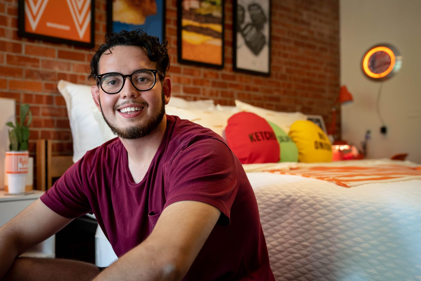Enrique Alcoreza is from El Paso but goes to Trinity University in San Antonio. Whataburger out-Whataburgered themselves by decking out his dorm in orange and white.