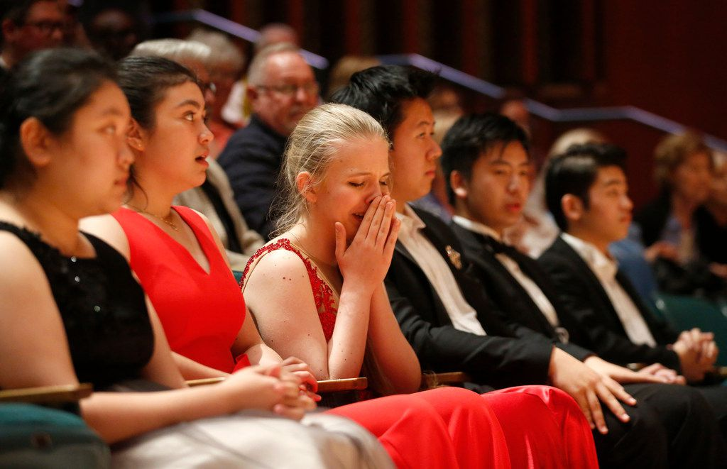 Eva Gevorgyan reacts after being named a finalist at the 2019 Cliburn International Junior Piano Competition and Festival at Caruth Auditorium in Dallas.