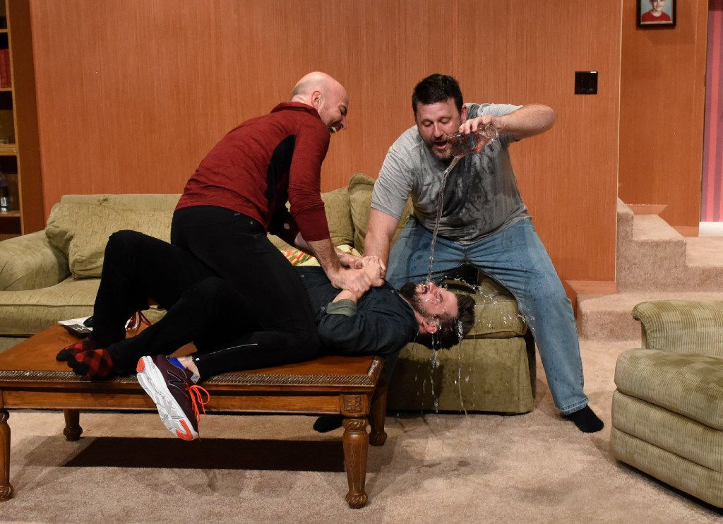 (from l-r) Brandon Potter, Thomas Ward and Drew Wall play brothers in 'Straight White Men' for Second Thought Theatre April 12-May 6, 2017 at Bryant Hall at the Kalita Humphreys campus in Dallas.