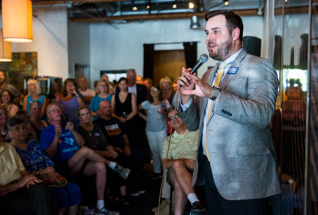 Democratic candidate for Texas senate district 2 Kendall Scudder spoke during a town hall meeting hosted by the Funky East Dallas Democrats at 2018 Kidwell Street on July 2.