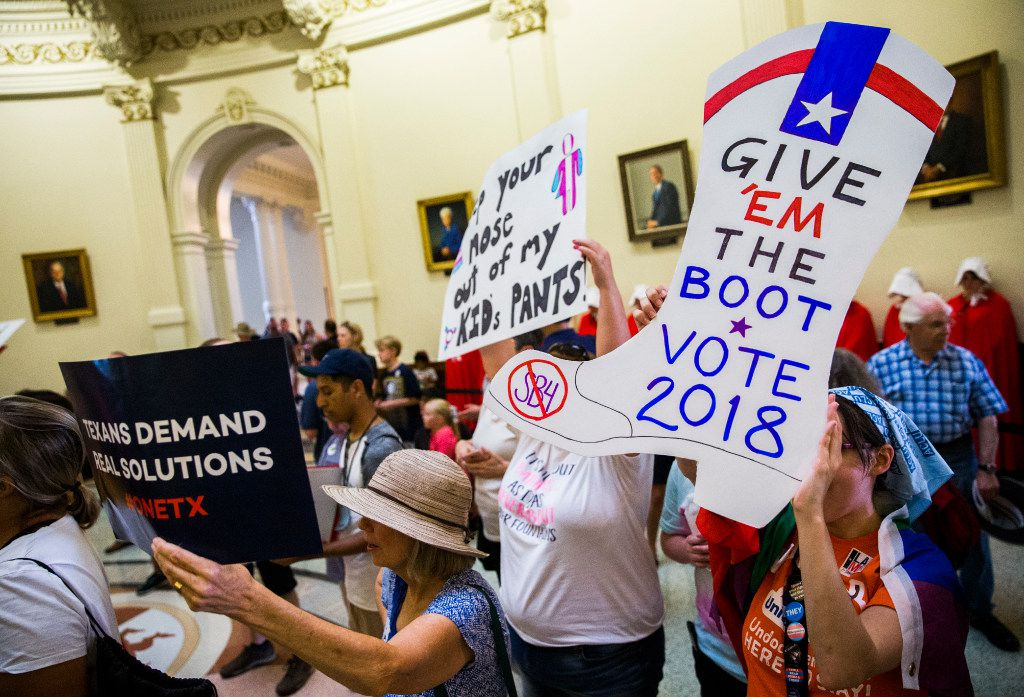 Protesters chant inside the capitol rotunda during a One Texas Resistance Rally on the first day of a legislative special session on Tuesday, July 18, 2017 at the Texas state capitol in Austin, Texas. (Ashley Landis/The Dallas Morning News)
