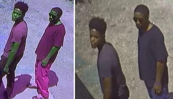 Images of two suspects sought in connection with the shooting death of two men at a Pleasant Grove game room.