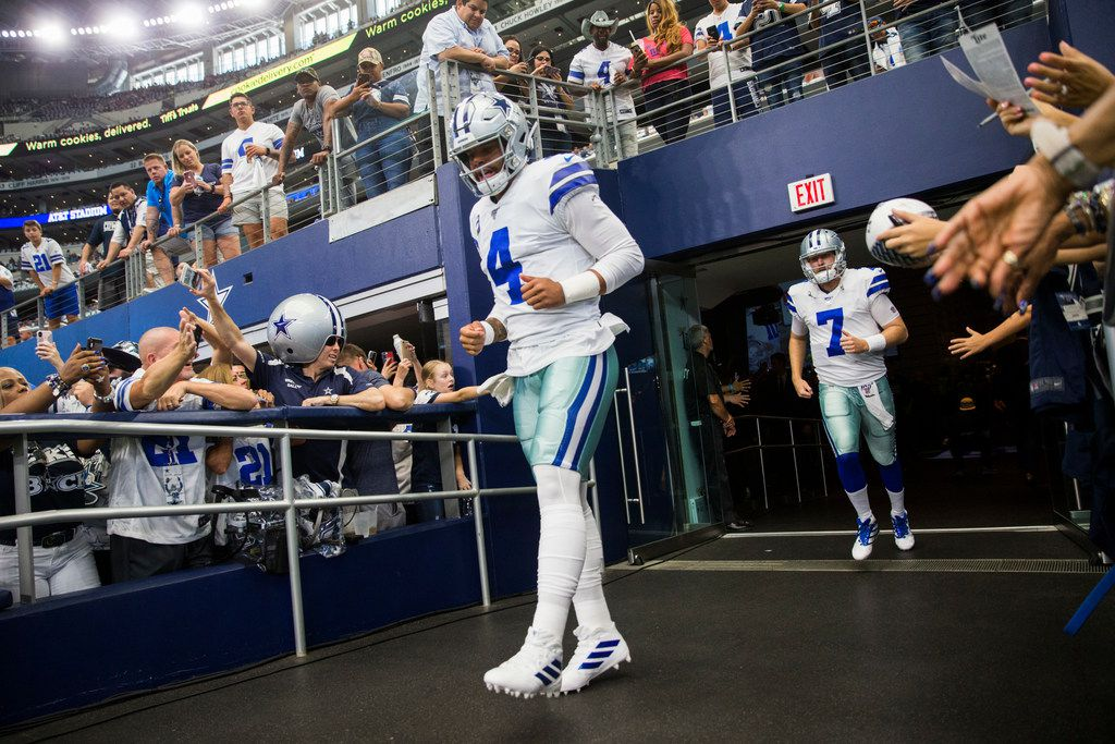 Dallas Cowboys quarterback Dak Prescott (4) enters the field for warm ups before an NFL game between the New York Giants and Dallas Cowboys on Sunday, September 8, 2019 at AT&T Stadium in Arlington.