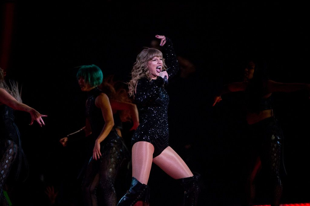 """Taylor Swift performs during her """"Taylor Swift Reputation Stadium Tour"""" at AT&T Stadium in Arlington, Texas on Friday, October 5, 2018 . (Shaban Athuman/The Dallas Morning News)"""